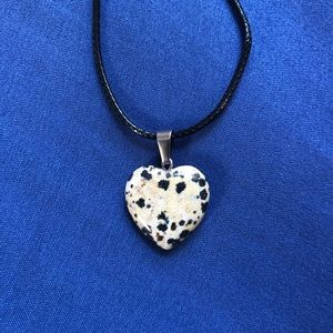 Jewelry - Dalmatian Jasper Heart Stone Necklace